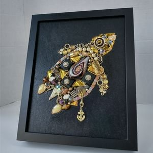 Gold jewelry turtle vintage home decor
